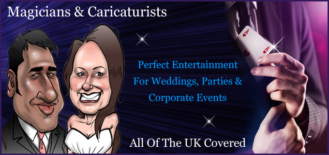 Magicians and Caricaturists for Weddings, Parties and Corporate Events