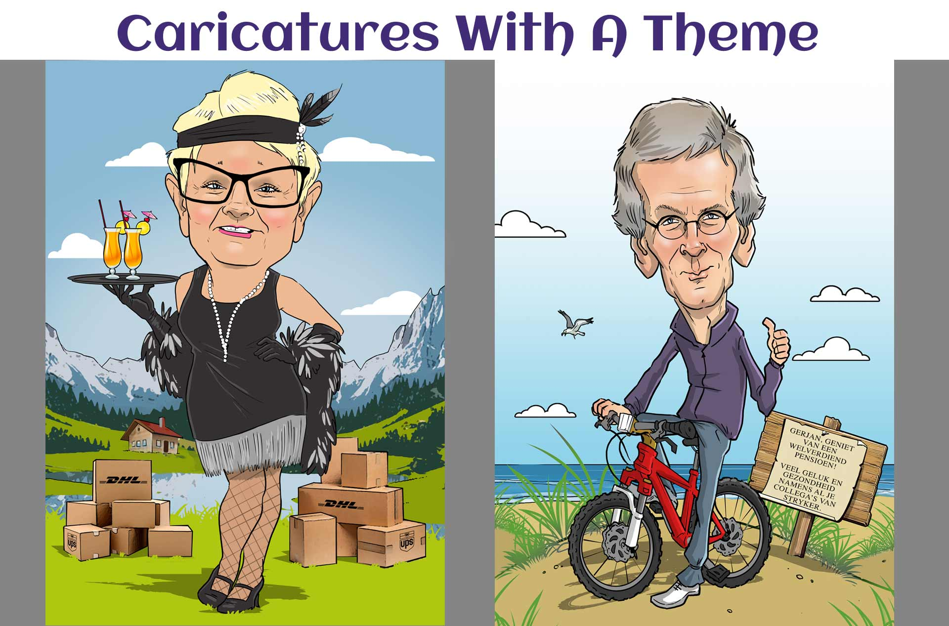 Caricatures with a theme