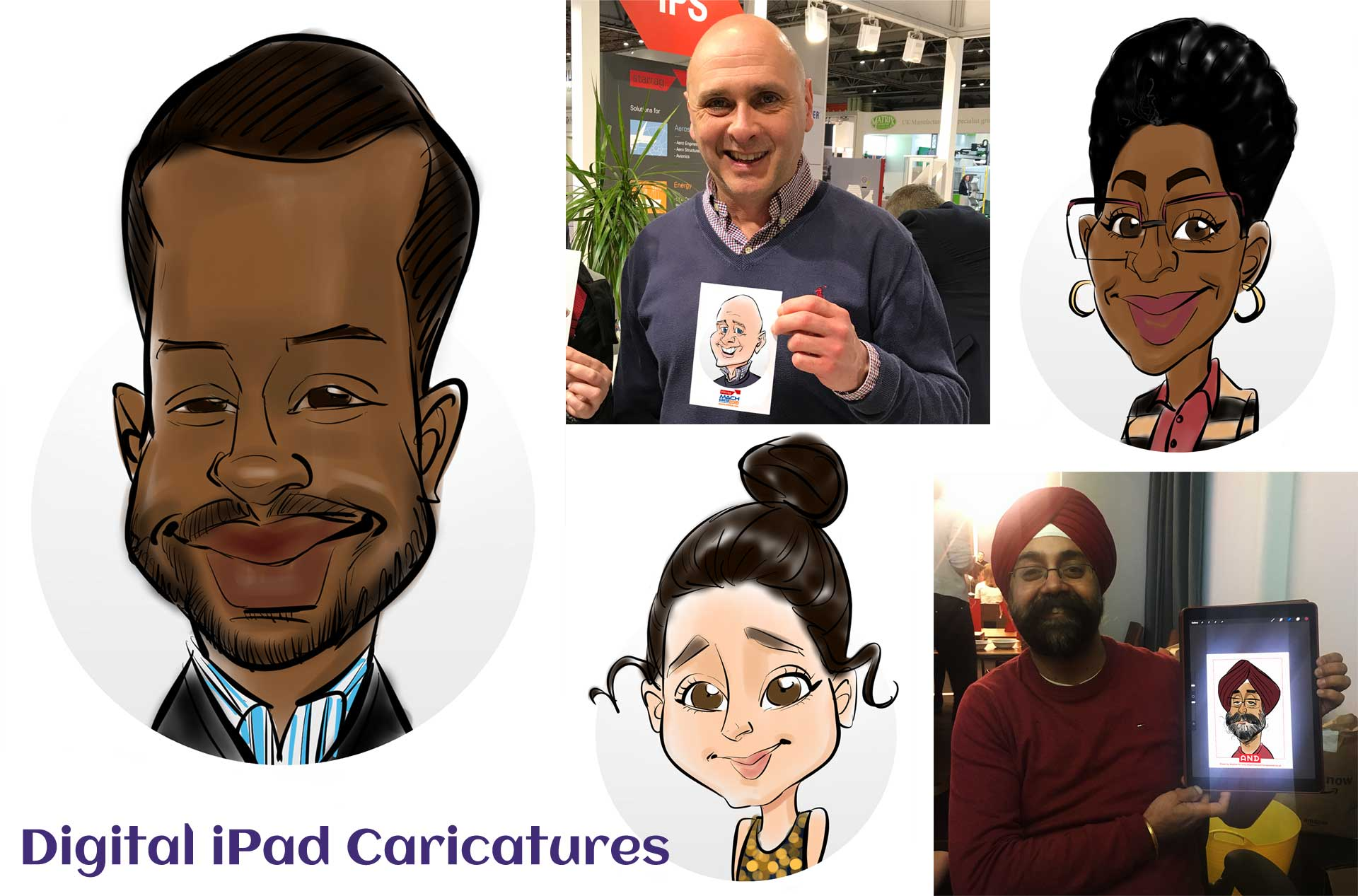 wedding ipad caricaturists